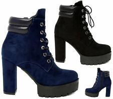 Womens Ladies High Block Heel Zip Platform Lace Up Ankle Boots Booties Size 3-8