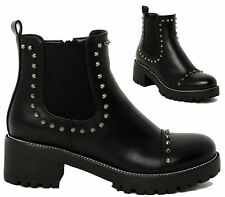 Ladies Womens Studded Low Block Chunky Heel Pull On Chelsea Biker Ankle Boots Sh