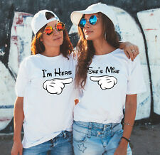 Mickey Mouse I am hers and She is mine Her and Her matching white t-shirts set