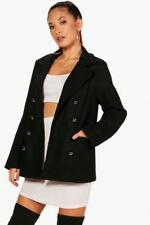 BOOHOO Double Breasted Wool Look Coat Black size 12