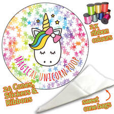 24 x  Magical Unicorn Poop Label Stickers DIY Sweet Cone Party Bags -1105