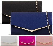Wedding Party Women Evening Clutch With Chain Strap Glitter Bag Glamour Purse UK