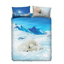 Bassetti completo sacco copripiumino IMAGINE BEARS IN THE SNOW (100% cotone)