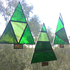 Stained Glass Christmas Tree Window Ornaments Handmade Glass Xmas Decorations