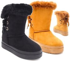 LADIES WOMENS MID CALF WARM WINTER FUR LINED SNUG HUG GRIP SOLE BOOTS SIZE 3-8
