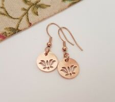 1 PAIR ROSE GOLD LOTUS FLOWER EARRINGS, DANGLY EARRINGS, STAINLESS STEEL,BOHO