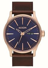 Nixon Sentry Leather Rose Gold / Navy / Brown One Size