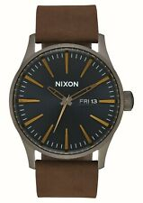 Nixon Sentry Leather Gunmetal / Indigo / Brown One Size