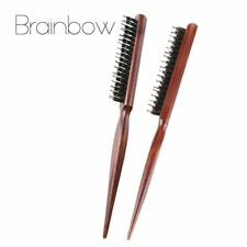 BRAINBOW® 1pc Wooden Comb Handle Natural Boar Bristle Hair Brush Fluffy Anti