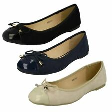 Ladies Spot On Bow Detail Patent Toe Slip On Synthetic Ballerina Shoes F8R0167