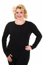 Black Getaway Plain Vintage Retro Rockabilly PLUS SIZE Cardigan Banned Apparel