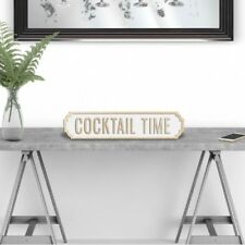 Cocktail Time - Vintage Road Sign / Street Sign - Silver / Champagne Glitter
