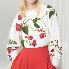 Christmas Sweater Women Vintage Floral Pullover O-neck Long Sleeve Loose Knitted