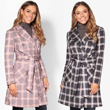 Womans Ladies Check Button Coat Trench Mac Jacket Soft Stretch Fit Faux Suede