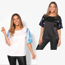 Women Ladies Sequin Sleeve Loose Boxy Satin T Shirt Top Fashion Party Blouse Tee