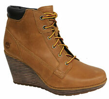 Timberland Meriden Lace Ankle Wedge Womens Boots Shoes Wheat Leather A11YS D71