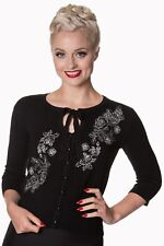 Black Floral Roses Embroidery Vintage 1950's Retro Cardigan By Banned Apparel