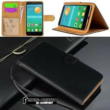 Black Flip Cover Stand Wallet Leather Case For Various Alcatel OneTouch Phones