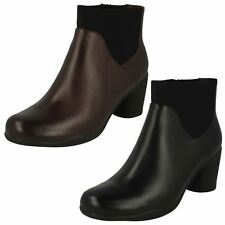 Ladies Clarks Smart Zip Up Leather Heeled Ankle Boots Un Rosa Mid