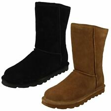 Ladies Bearpaw Sheepskin Lined Pull On Casual Suede Boots Elle Short