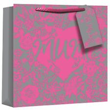 Eurowrap Metallic Flock Mothers Day Square Gift Bags (SG9846)