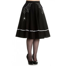Hell Bunny Miss Muffet Black Halloween Spider Retro Vintage 1950s Midi Skirt