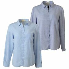 NEW Ladies Pale Blue Linen Shirt Long Sleeves Tabs Breast Pockets Sizes 6 - 22