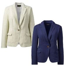 NEW Ex Lands End Womens Linen Summer Blazer Fitted Single Breasted Sizes 8 - 16