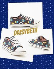 LindyBop Retro BOXED Owl print Shoes Trainers Pumps Sneakers LaceUps Flats Black