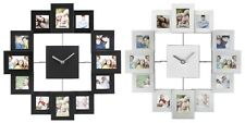 12 Family Photo Frame Brushed Aluminium Multi Picture Aperture Wall Clock New