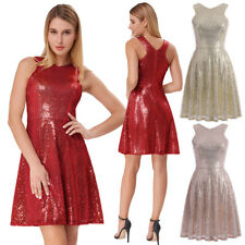 Women Dress Evening Clubwear Cocktail Hot Party Mini Sequined V-neck Sleeveless