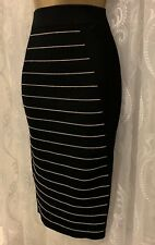 Ted Baker Ottoman Black Stripe Knitted Bandage Bodycon Stretch Midi Skirt 1 8 36