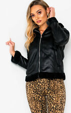 IKRUSH Womens Megh Faux Fur Collared Faux Leather Jacket