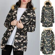 Womens Ladies Camouflage Print Zip Up Pocket Trench Parka Hooded Faux Fur Jacket