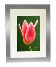 Brushed Satin Silver Colour Photo Picture Frame With Mount - ALL SIZES