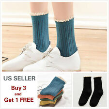 1/5 pairs Women's Kawaii Ankle High Socks Lace Winter Casual Cotton