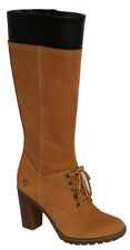 Timberland Glancy 14 Inch Wheat Leather Lace Up Side Zip Womens Boots A11S7 D1C4