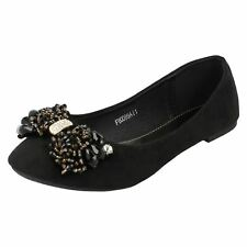 Ladies Spot On Jewelled Bow Flat Slip On Textile Everyday Shoes F8R0089