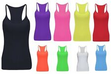New Womens Plain Stretch Long Strap Cami Camisole Vest Tank Top