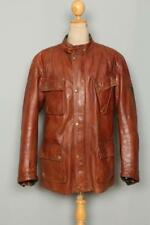 Vtg BELSTAFF Panther Brown Leather Motorcycle Jacket XLarge
