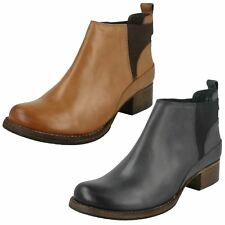 Ladies Clarks Casual Heeled Slip On Leather Ankle Boots Monica Pearl