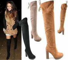 WOMENS THIGH HIGH OVER THE KNEE BOOTS TIE UP LONG HIGH BLOCK HEEL PLATFORM SHOES