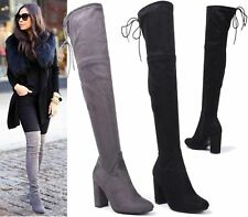 WOMENS LADIES NEW THIGH HIGH OVER THE KNEE STRETCH BLOCK HEEL BOOTS SHOES SIZE