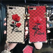 Square Embroidery Rose Flower Phone Case For iPhone X XS MAX XR 6 7 8 Samsung S8