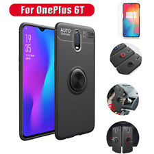 For OnePlus 6T Shockproof Cover Case Metal Ring Holder Kickstand +Tempered Glass