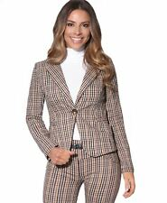 Women Ladies Tailored Fitted Woven Check Tartan Blazer Jacket Office Suit Coat