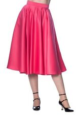 Pink Swing Flared Vintage Retro 50s Rockabilly Pin Up Midi Skirt Banned Apparel