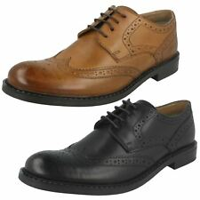 Mens Base London Rounded Toe Smart Lace Up Heeled Leather Brogues Main