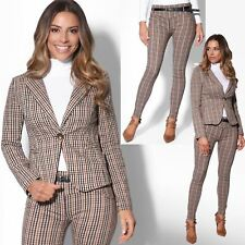 Womens Check Work Suit Woven Office Blazer Jacket Stretch Skinny Pencil Trousers