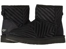 NEW WOMEN 2019 UGG CLASSIC MINI BOOTS QUILTED SATIN BLACK AUTHENTIC 1098351